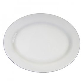 Ceramic White Oval Platter Rim for Rent