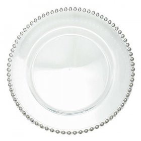 Beaded Silver Clear Glass Charger for Rent