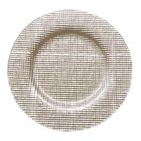 Fabric Taupe Glass Charger for Rent