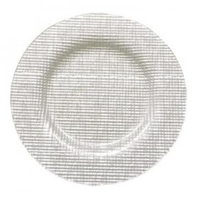 Fabric White Glass Charger for Rent