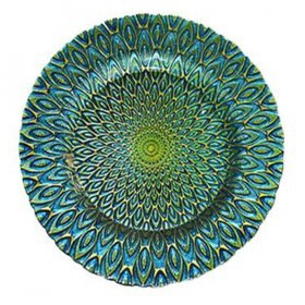 Peacock Blue/Green Glass Charger for Rent