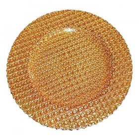 Pearl Gold Glass Charger for Rent