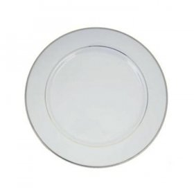 Silver Rim White China for Rent