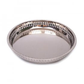 "Chrome Galley Tray - 15"" Round for Rent"