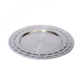 "Mod Stainless Steel Slotted Tray - 15"" Round for Rent"