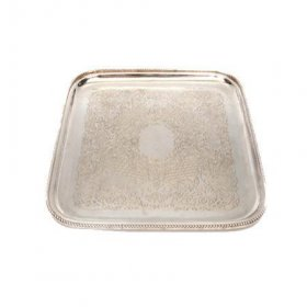 "Silver Beaded Tray 15"" Square for Rent"