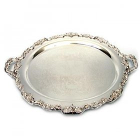"Silver Oval Tray w/ Handles - 24"" x 16"" for Rent"