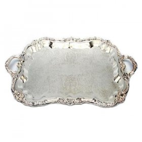 Silver Rectangle Tray with Handles for Rent