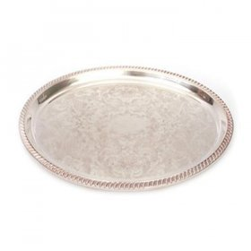 "Silver Tray 20"" x 16"" Oval for Rent"