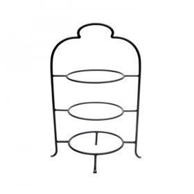 "Wrought Iron 3 Tier Plate Stand - 12"" Plates for Rent"