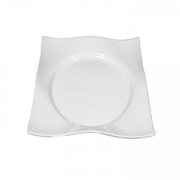 White Wave Square Dinner Plate for Rent