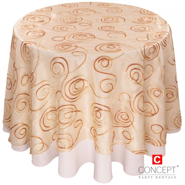 Sheer Swirl Overlay Tablecloth for Rent