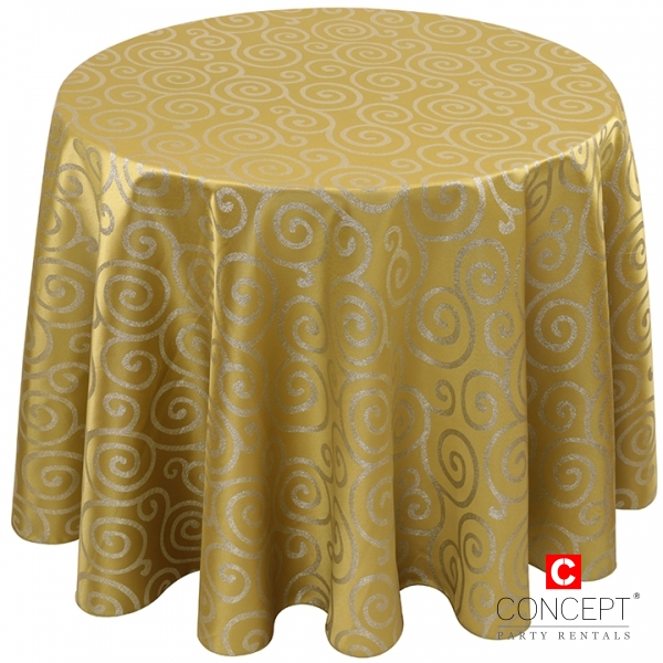 Art Deco Metallic Scroll Tablecloth for Rent